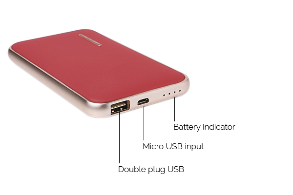 CHJGD® Midas Premium Luxury Li-Polymer Power Bank, 8000mAh / Portable Charger (Rose Madder Red)