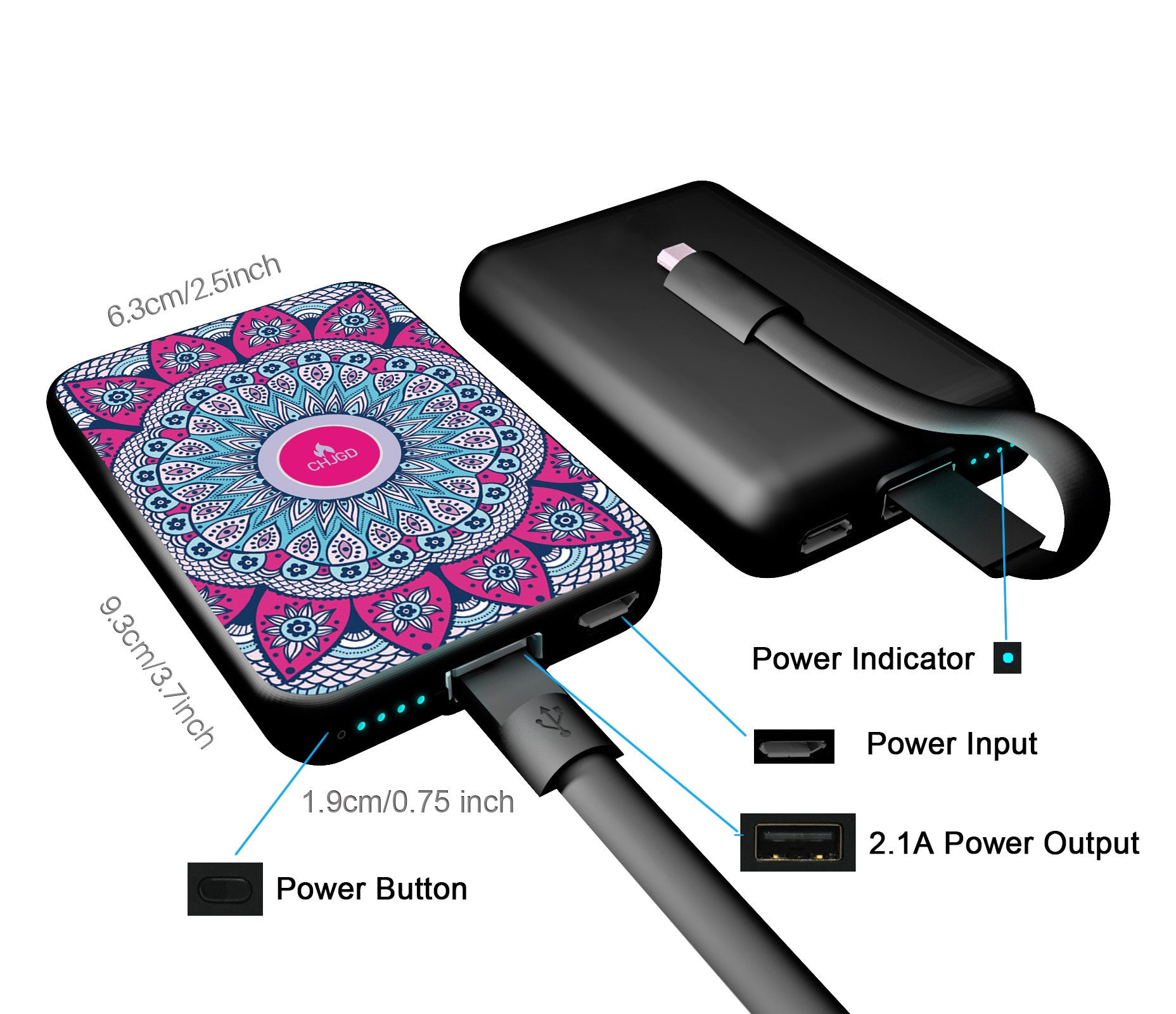 World's Smallest 10,000 mAh Power Bank - CHJGD Ultracompact (Sunflower Mosaic)