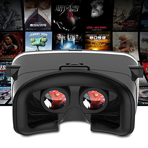 CHJGD VizMax Ultra Premium 3D VR Headset Virtual Reality Box with Bluetooth Remote Control, Adjustable Lens and Strap for all Smartphones (Black)