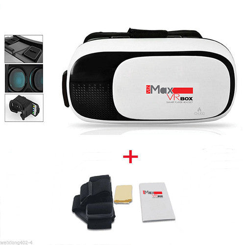 CHJGD VizMax Premium 3D VR Headset Virtual Reality Box with Bluetooth Remote Control, Adjustable Lens and Strap for all Smartphones (White)