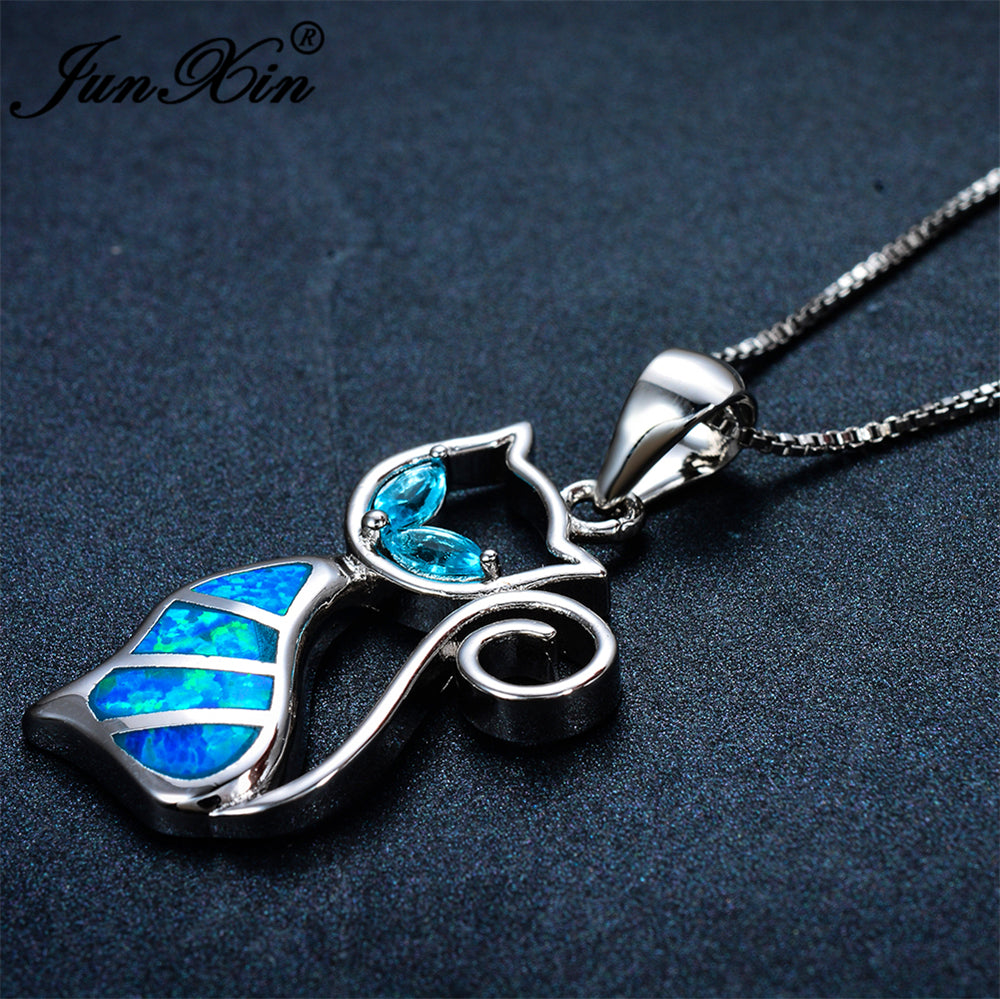 Playful blue opal 925 sterling silver cat necklace50off free playful blue opal 925 sterling silver cat necklace50off free shipping mozeypictures Gallery