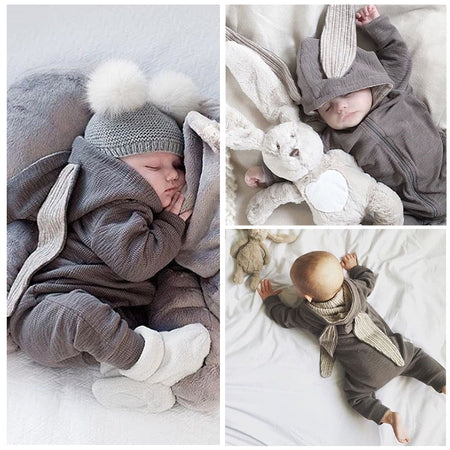 Newborn Infant Baby Girl Boy Clothes Cute 3D Bunny Ear Romper Jumpsuit Playsuit Autumn Winter Warm Bebes Rompers One Piece - ZLIFEA