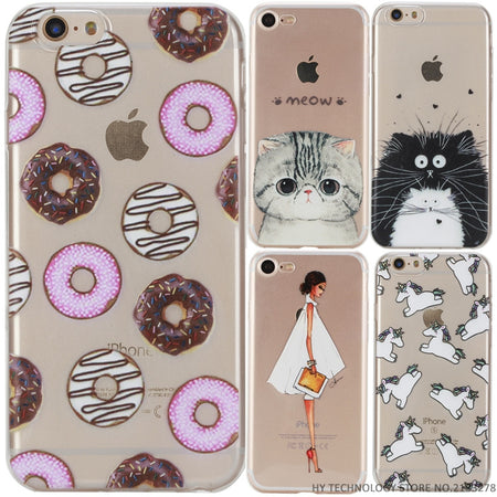 Phone Case For iPhone 5 5S SE 6 6S 7 PLUS Cute Cartoon High Quality Painted TPU Soft Cases Silicone Flower Pattern Cover Shell - ZLIFEA