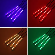 4 in 1 9 LED Multi Color Car Auto Neon Light Atmosphere Wireless Remote Control RC Interior Floor Pathway Strip Lights Lamps - ZLIFEA