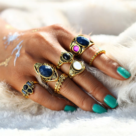 Tibetan Turkish Mix Midi Rings - 8PCS - ZLIFEA