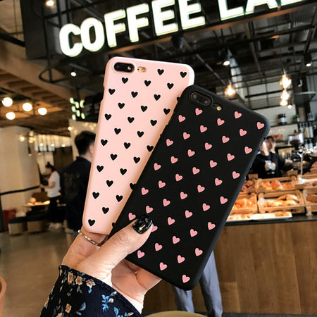 For iPhone 5 5S 6 6plus 6s 7 Plus High Quality Stripe Heart Silk print cover Heart Camera Window hard PC Phone Cases Capa cover - ZLIFEA