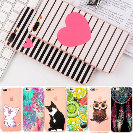 Painting Soft TPU Case For iPhone 7 6 6S Plus 5 5S SE 4 4S Animal Flower Heart Slim Silicone Housing For iPhone Back Cover Shell - ZLIFEA