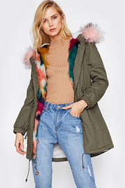 Faux Fur Trim Split Back Parka Coat Winter