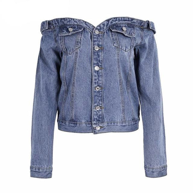 Sexy off shoulder denim jacket coat - ZLIFEA