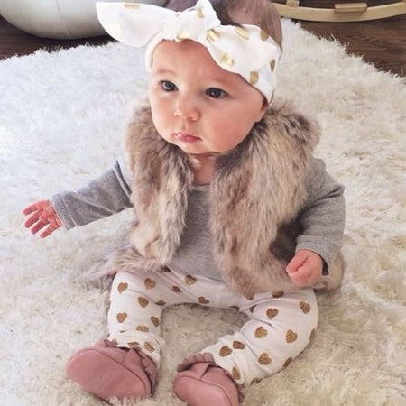 3pcs Newborn Baby Girls Clothes Long Sleeve Cotton Romper Gold Heart Pant Headband Outfit Toddler Kids Clothing Set 0-24M - ZLIFEA