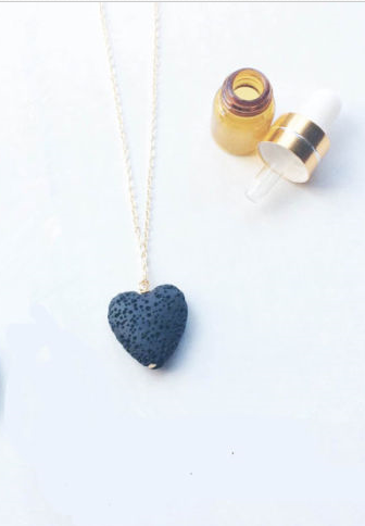 Lava Stone Blue Heart Essential Oil Diffuser Necklace