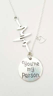 You're My Person with EKG Heart Beat and Heart Charm Necklace