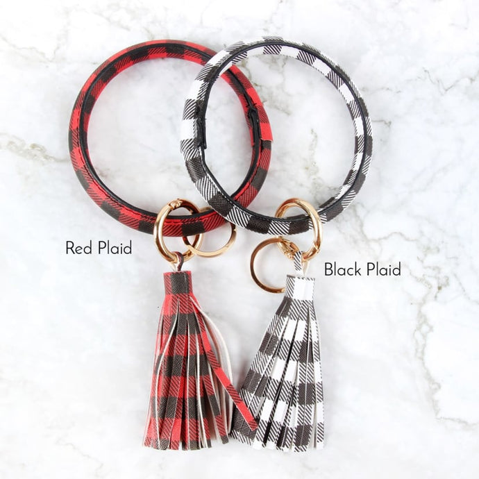 Red & White Buffalo Plaid Tassel Bangle Key Ring Set