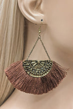 Beautiful Fanned Tassel Drop Earrings- in Brown