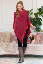 """Cheers""  Two Tone Poncho in Red"