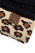 Messy Bun Leopard Cuff Beanie by RF- in Beige or Black