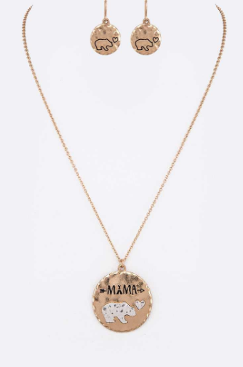 Mama Bear Love Necklace and Earring  Set