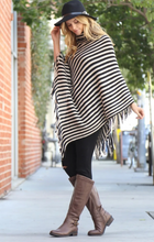 """See You There"" Striped Poncho"