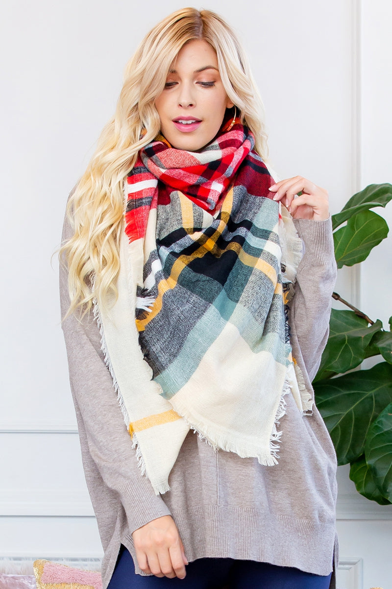 Fashion Blanket Scarf Woven Plaid