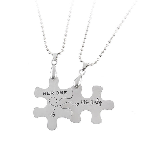 Her One His Only Puzzle Pieces  2 piece Necklace set