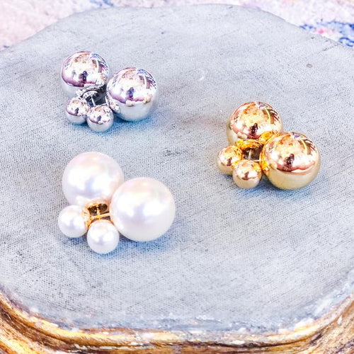 PEARLS Double Ball Stud Earrings -Double Sided Front Back Earrings In Assorted Colors