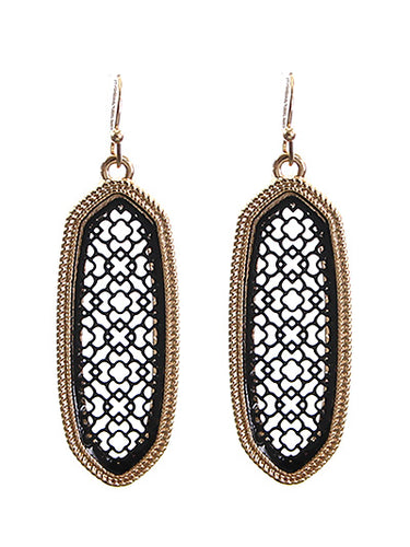 Ornate Moroccan Drop Earrings in Black and Gold