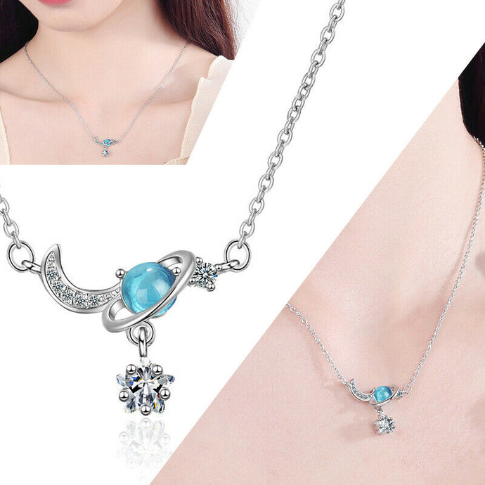 Crystal Moon  and Star Cubic Zirconia Pendant Necklace