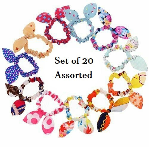 DEAL OF THE WEEK- Assorted Print 20 piece set Mini Bunny Ear Scrunchies