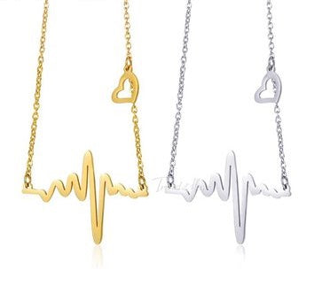 Heartbeat Rhythm of Love Necklace  with Dangling Heart in Gold or Silver