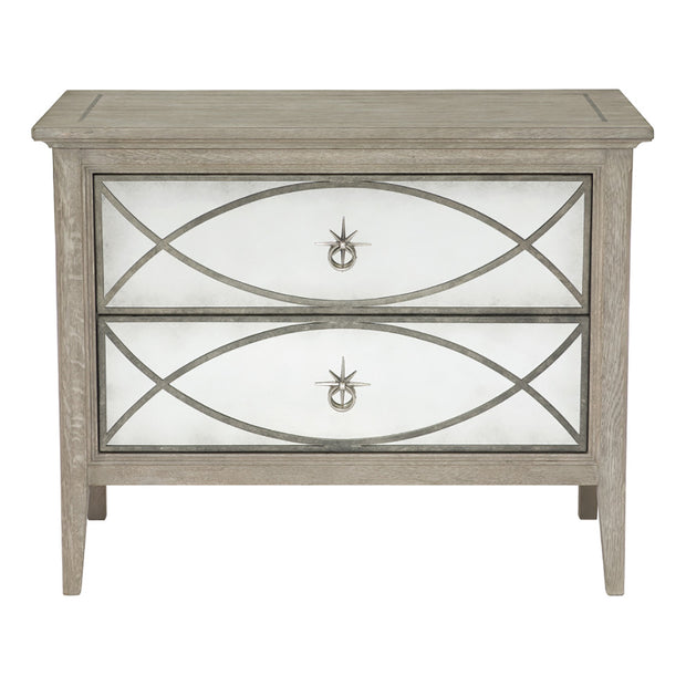 Marquesa Two Drawer Mirrored Nightstand