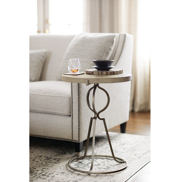 Rustic Patina Round End Table - Dark