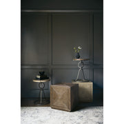 Rustic Patina Cube Side Table - Dark