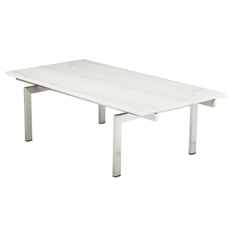 Louve Rectangle Coffee Table - White / Silver