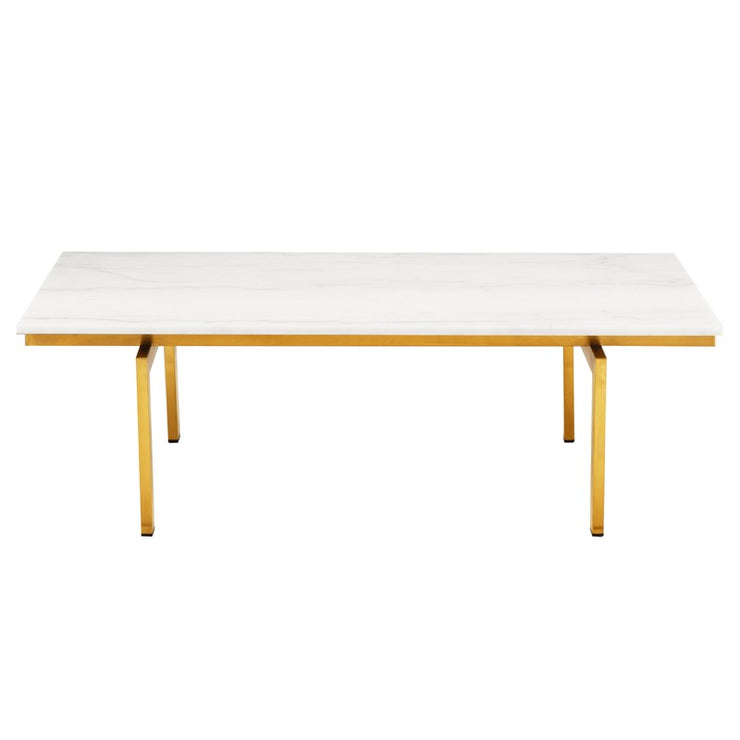 Louve Rectangle Coffee Table - White / Gold