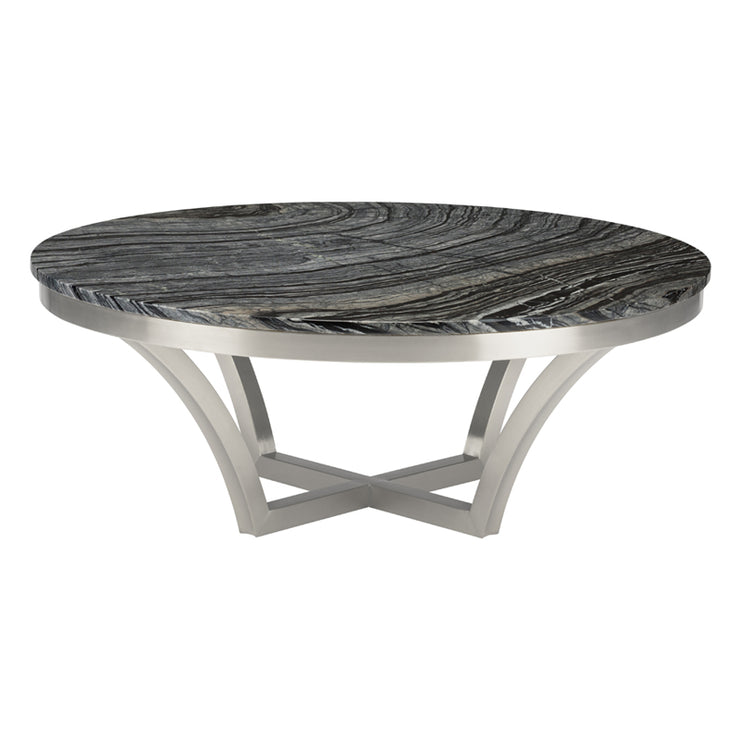 Aurora Round Coffee Table - Black Marble / Silver