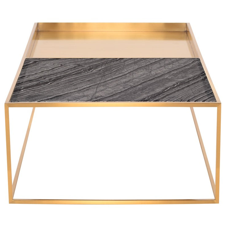 Corbett Rectangle Coffee Table - Black Marble / Gold