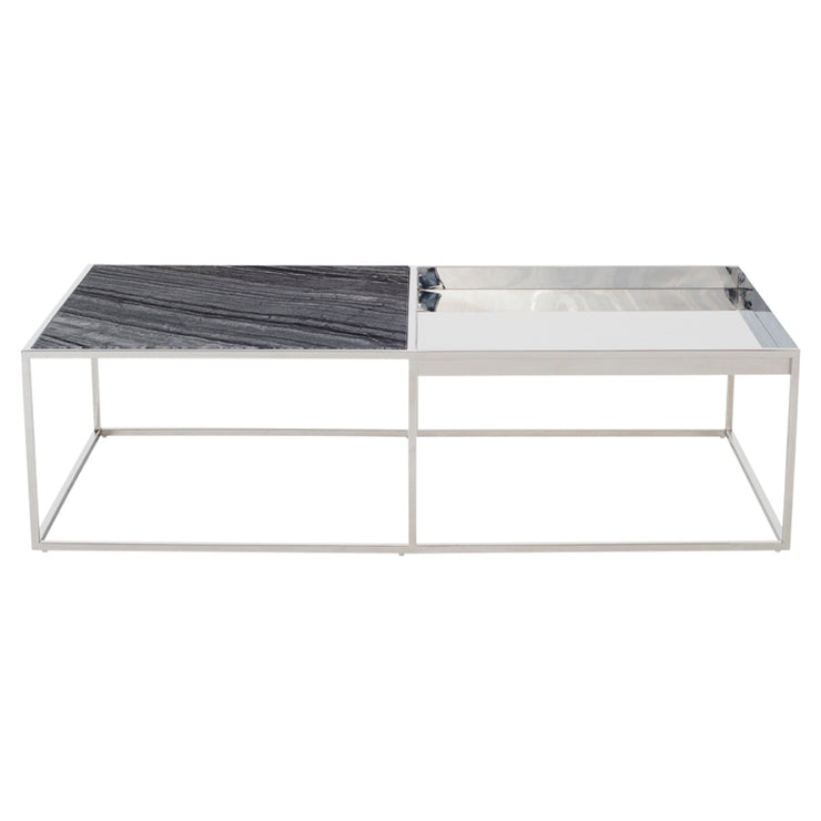 Corbett Rectangle Coffee Table - Black Marble / Silver