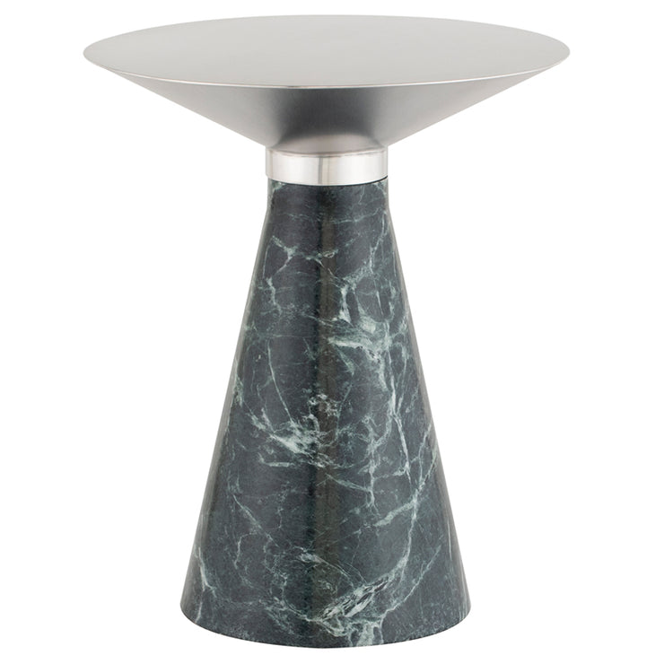 Iris Side Table - Silver / Green Marble