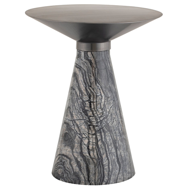 Iris Side Table - Graphite / Black Marble