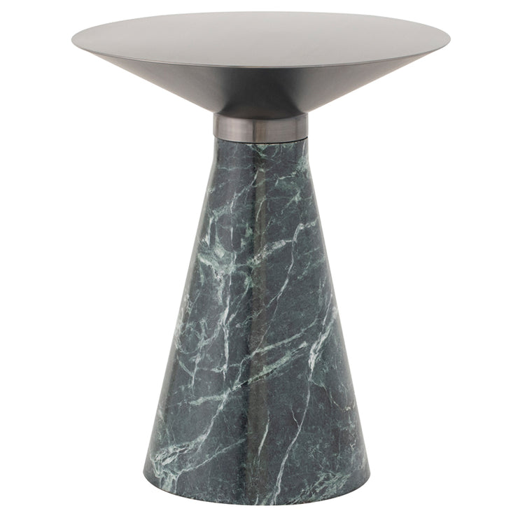 Iris Side Table - Graphite / Green Marble