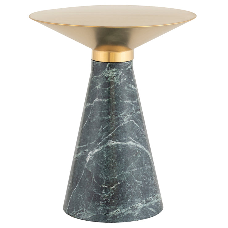 Iris Side Table - Gold / Green Marble