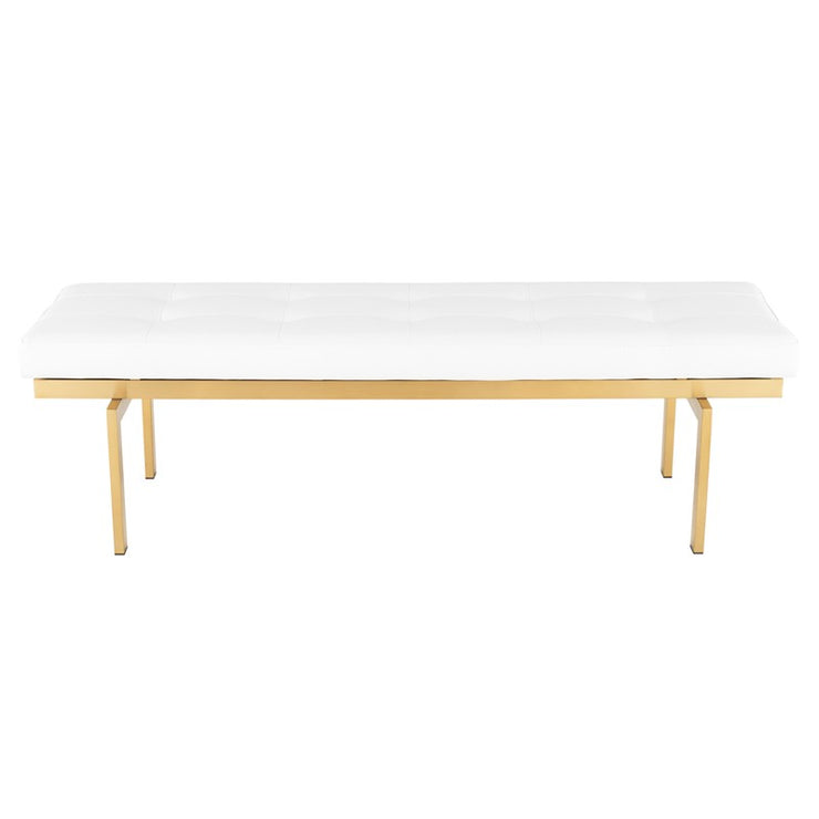 Louve Occasional Bench - White / Gold