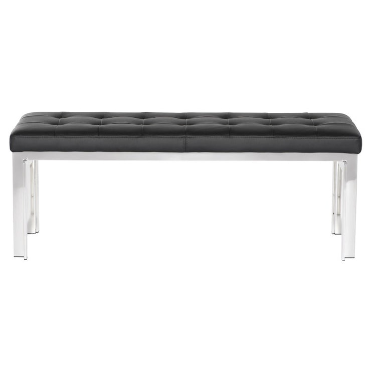 Vincent Occasional Bench - Black / Silver