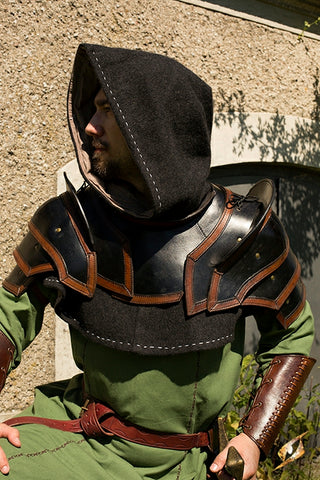 Shoulder Armour & Neck Guard - Black/Brown - Large