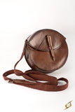 Round Leather Bag - Brown