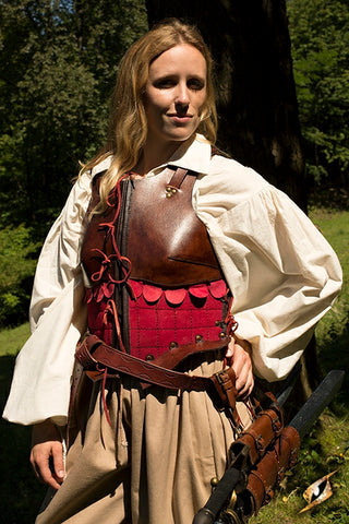 Female Leather Armour Brown-Red
