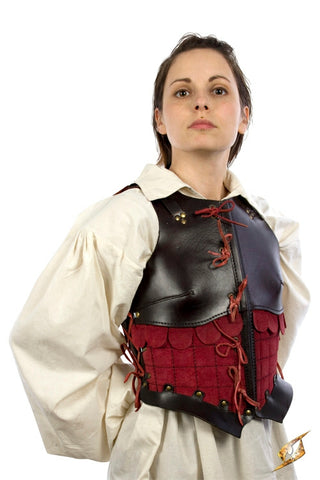 Female Leather Armour Dark Brown-Red
