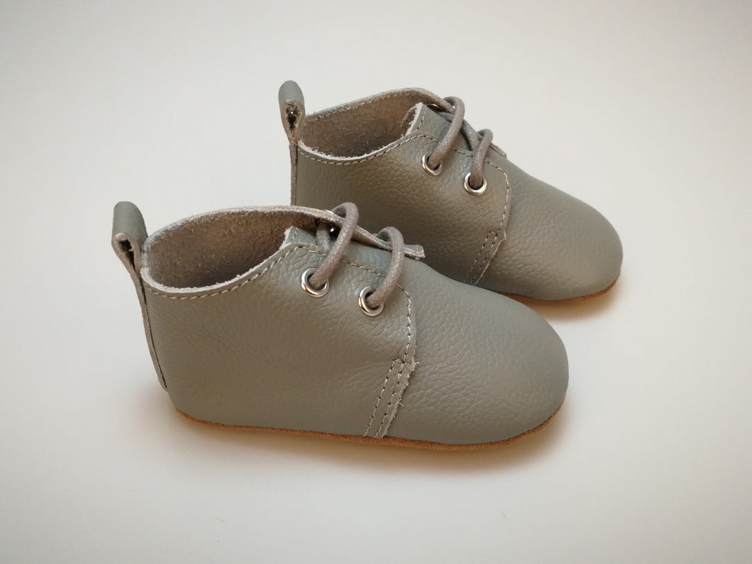 Harper Oxfords - Pebble Grey (Soft & Hard Soles)