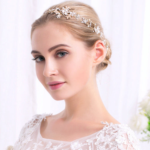 Fashion Luxurious Gold & Silver Plated Crystal Pearl Headband Bridal Hair Accessories Wedding Hairband (1pcs)