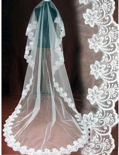 2015 One Layer Bridal Ivory Wedding Veil Laciness 3 meters Long Veil Free Shipping